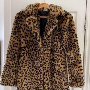 FOREVER 21 faux leopard fur coat